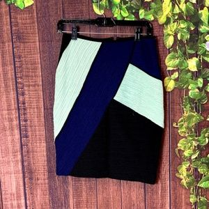 Anthropologie: Black Color Block Pencil Skirt